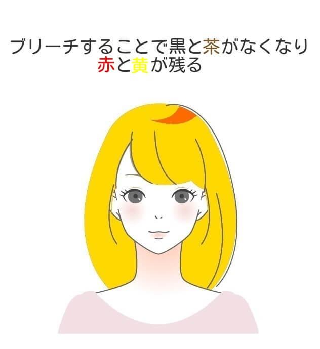 日本人の黒髪をブリーチした色の説明