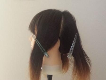 髪の毛を染めるために4つのブロックに分けた横の写真