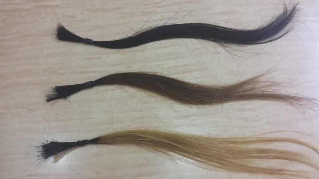 アッシュグレーカラーで染める前の3本の毛束