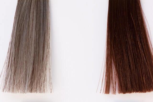 灰色の髪の毛と茶髪の写真