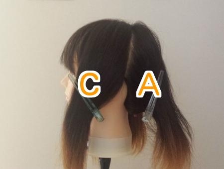 髪の毛を染めるために4つのブロックに分けてC Aの文字を入れた写真 横