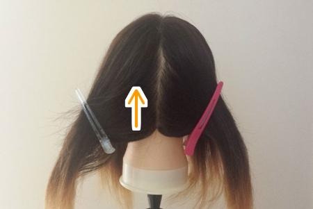 髪の毛を染めるために4つのブロックに分け、下から塗る写真