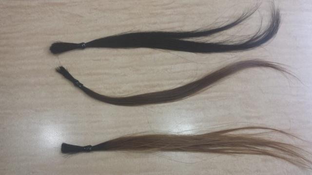 黒髪、茶髪、ブリーチ毛の髪の毛の写真
