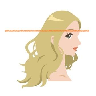 上下に髪を分けている女性の写真