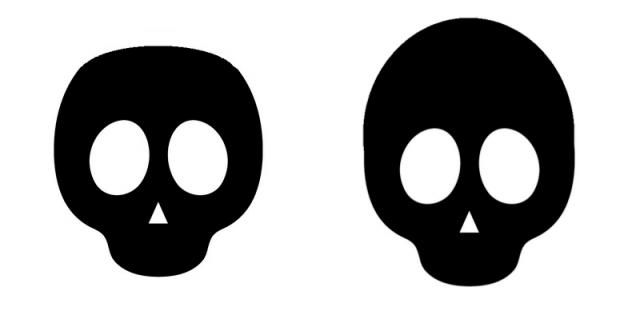 トップの高さが違う頭蓋骨のイラスト