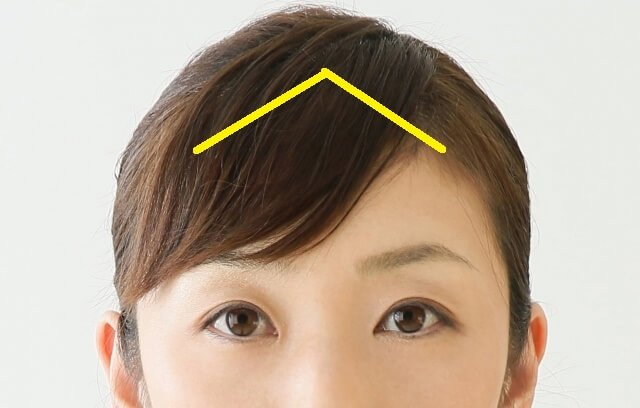 軽めの前髪の取り方を示した写真
