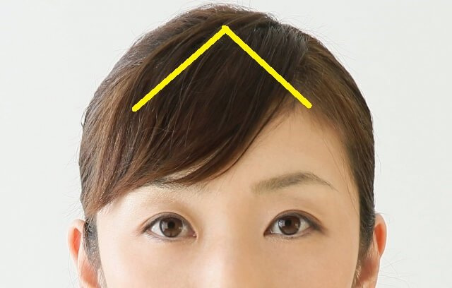 普通の前髪の取り方を示した写真