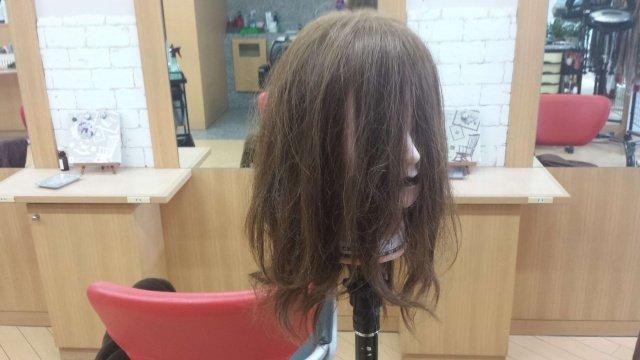 寝癖状態の髪の毛の写真