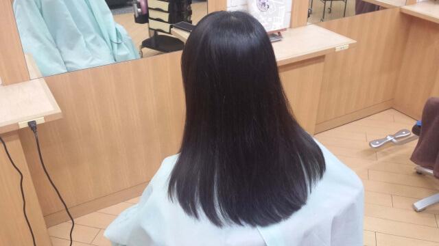 カット終了後の髪の毛の写真