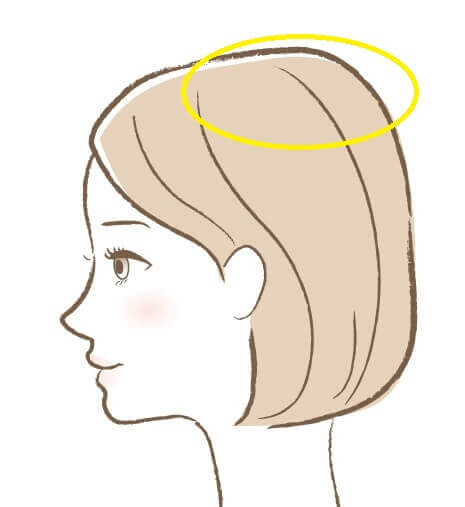 女性の頭トップ部分