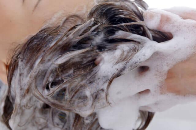 シャンプーしている女性の写真