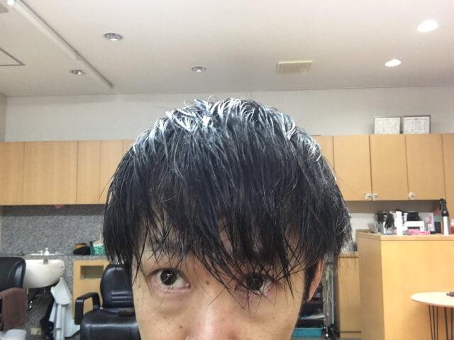 髪の毛を濡らした状態アップ