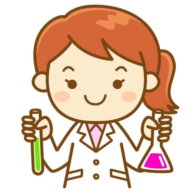 化学の実験をする女性のイラスト