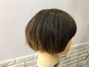 髪の毛を梳かしたショートヘア横の写真
