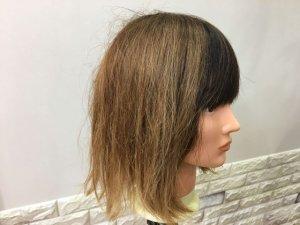 蒸しタオルを外した髪の毛横の写真