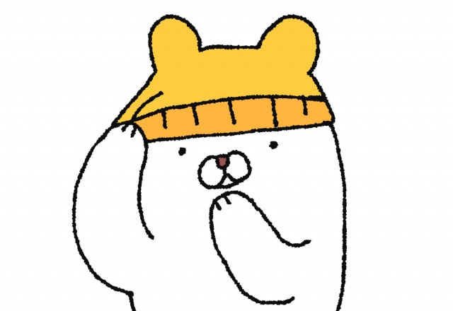 ニット帽を被ったクマのイラスト