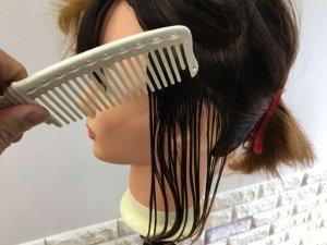 髪をクシで梳かす写真