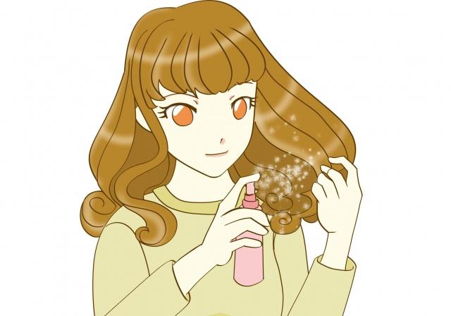 髪の毛にスプレーをかける女性のイラスト
