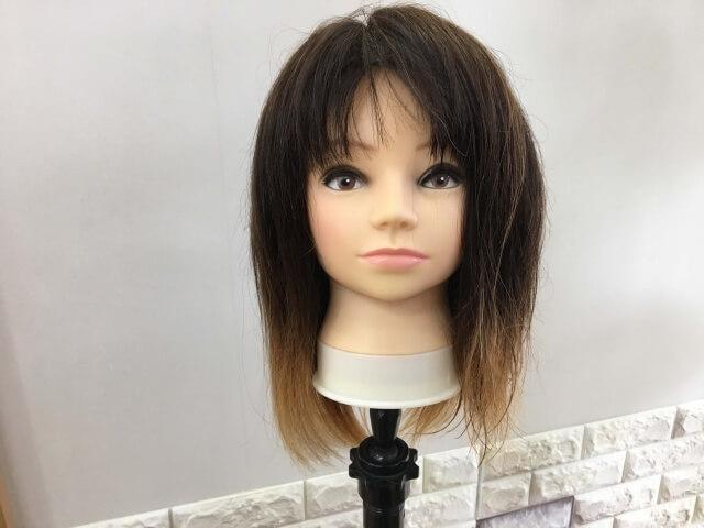 流さないトリートメントを付けて乾かした髪の毛正面の写真