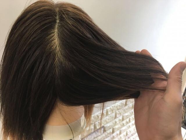 ロレアル エルセーヴ リスインテンススムースオイルエッセンスを付けた髪の毛の指通りの写真