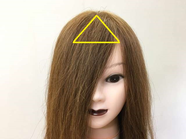 長い前髪の範囲の写真
