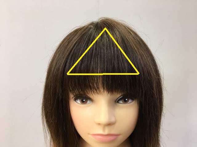 短い前髪の範囲の写真