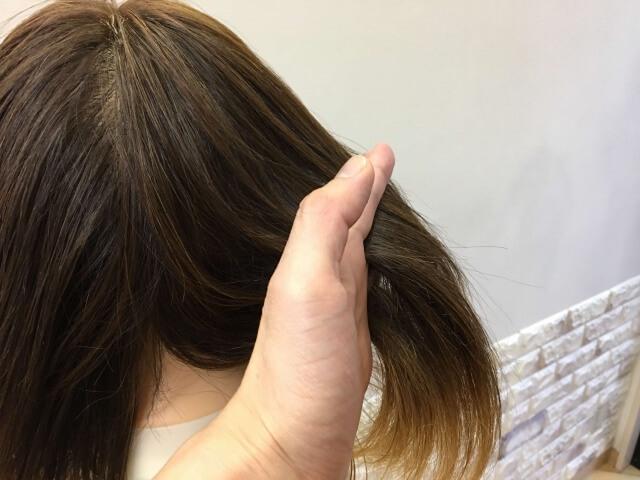 パンテーン 洗い流さないトリートメント インテンシブヴィタミルク を付けた髪の毛の指通りの写真