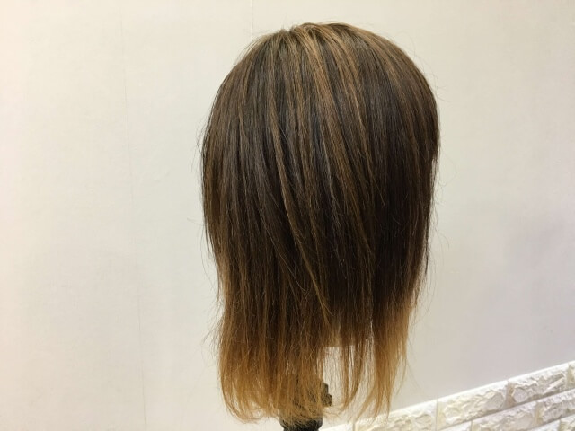 流さないトリートメントを付けた髪の毛の写真