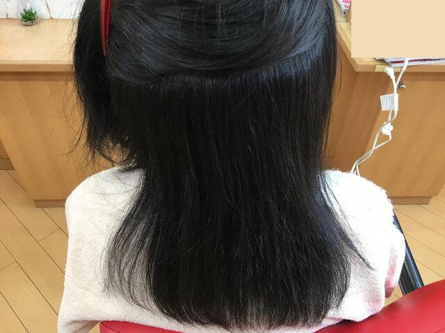 普通のストレートアイロンで後頭部の髪の毛を伸ばした写真