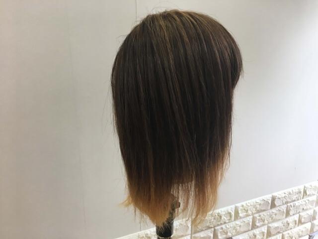 流さないトリートメントを付けた側の毛の写真