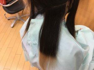 従来のストレートアイロンで伸ばした人毛の写真