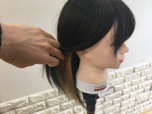 耳後ろインナーカラーの見え方の写真