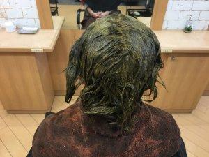 ヘナを塗り終った髪の毛の写真