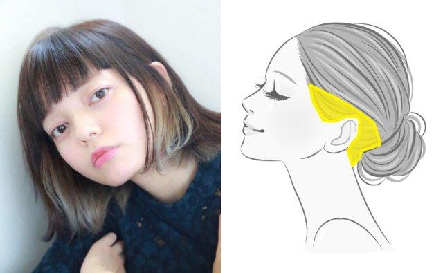 耳上と耳後ろのインナーカラー