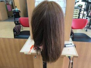 従来のストレートアイロンで伸ばした髪の毛背面写真