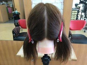 半分に分けた髪の毛の写真