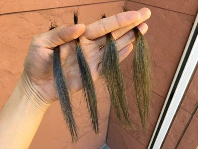 外で見たマットアッシュブリーチ3~6回の髪の毛の写真