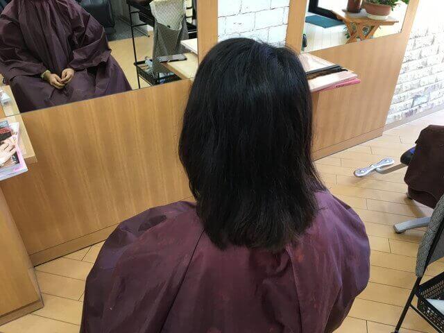 黒染めされている髪の毛