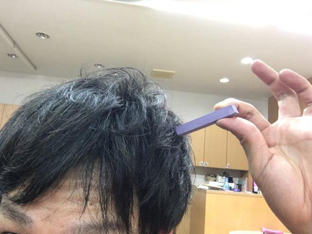 紫色のカラーチョークの付き具合の写真