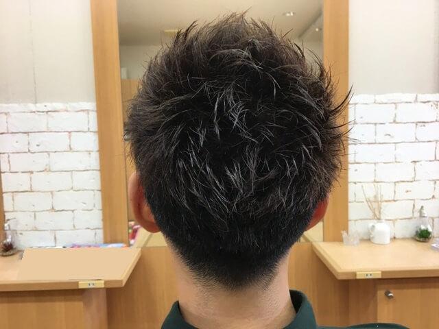 メンズアッシュカラーで染めた髪スタイリング後の写真バック