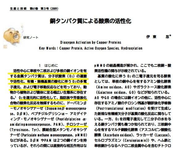 銅タンパクによる酵素の活性化研究論文
