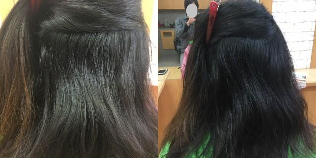 ストレートパーマ前の髪内側アップ2種類