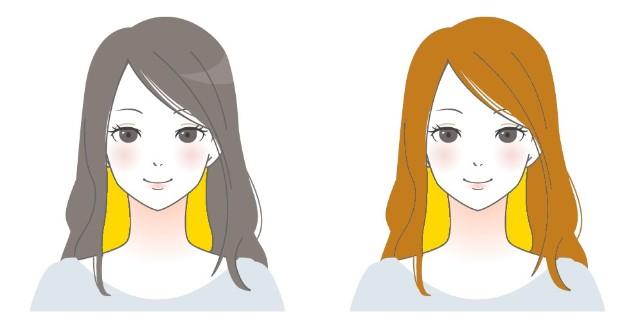 黒髪にインナーカラーと茶髪にインナーカラーのイラスト