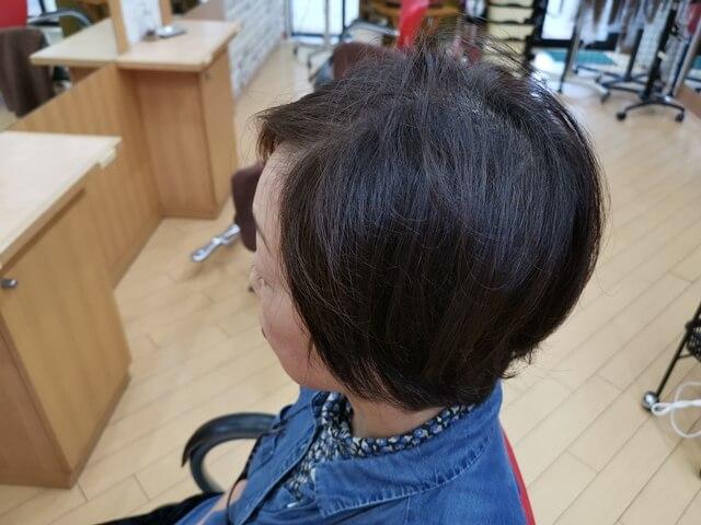脱染前の髪の毛横