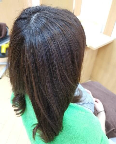 ホリスティックキュアで乾かした髪の写真