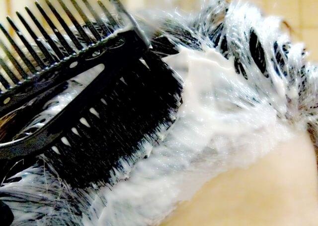 根本にヘアカラーがついた髪の毛