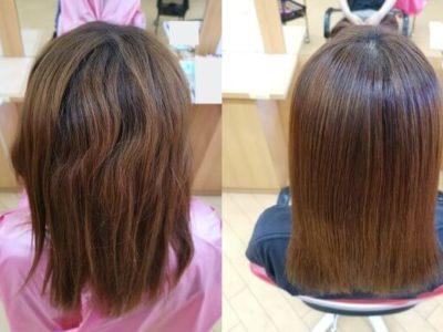 縮毛矯正前の髪と縮毛矯正後の髪