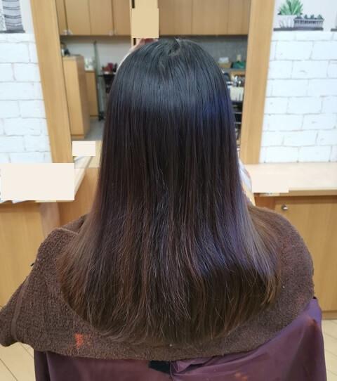 ラベンダーピンク前の髪の毛後ろの写真