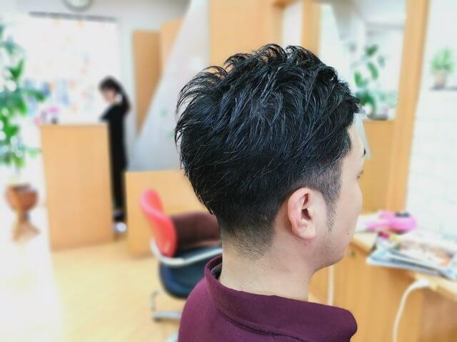 ジオパワーオイルを使たツーブロックの髪