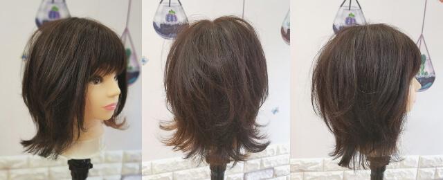ウルフカットに切った女性の髪型
